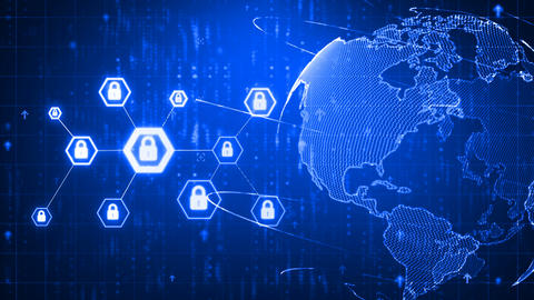 4K Animation hexagon shape with lock icon for network security padlock cyber Animation