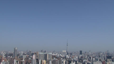 tokyo wideshot blue sky, TOKYO SKYTREE 動画素材, ムービー映像素材