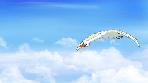 Swan Flies in the Cloudy Sky Animation