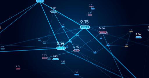 digital grid and number in virtual space seamless loop footage Animation