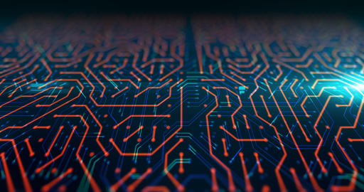 futuristic circuit pattern abstract background footage Animation