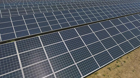 Solar panel units producing renewable energy Footage