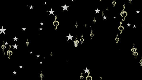 Elegant Treble Clefs and Stars on Black Background Animation
