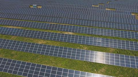 Solar panel units producing renewable energy Footage