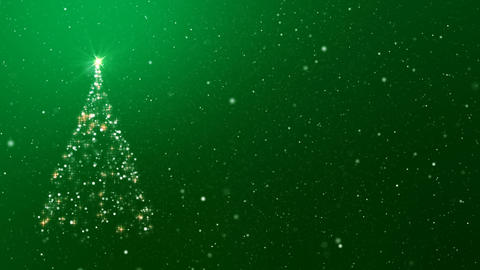 Christmas Tree and Snowfall on Green Background Loop CG動画素材