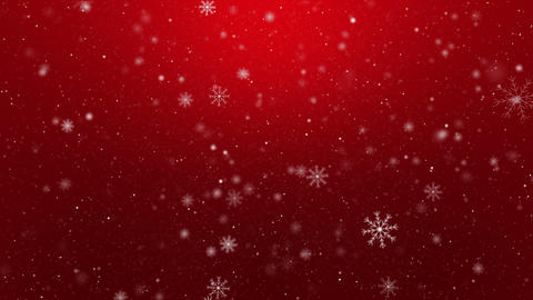 Snowflakes on Red Background Loop Animation
