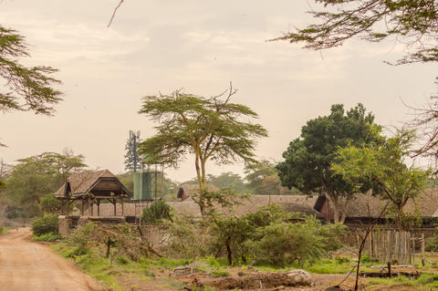 Old abandoned lodge in the savannah of Amboseli Park in Kenya Photo