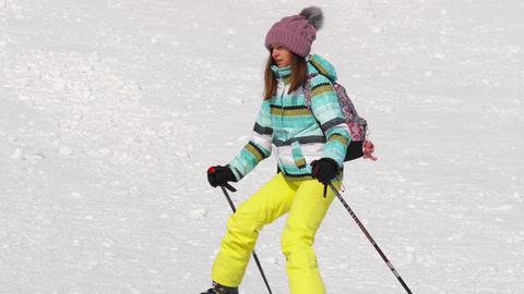 Amateur skier girl downhill Image