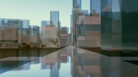 Abstract city downtown mirror buildings street level Animation