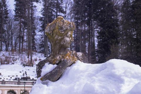 "Sculpture of the 19th century in a ""snow bath"", Sinai, Romania Photo"