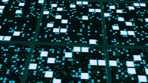 Perspective surfaces with blue random glowing tiles Animation