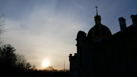 Beautiful church, sky time lapse 4k Footage