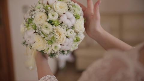 beautiful wedding bouquet in hands of the bride ビデオ