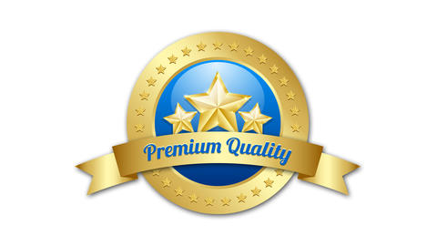 Three golden stars symbol with Premium quality ribbon and plaque on background Animation