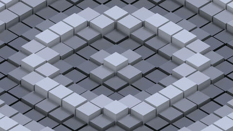 Greyscale abstract seamlessly waving field of cubes Animation