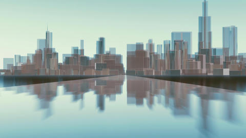 Abstract 3D Chicago city skyline reflections Animation