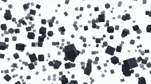 Flying in space dark cubes on white background Animation