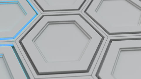 Wall of white hexagons with blue glow Animation