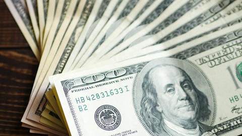 Stack of hundred dollars bills Footage