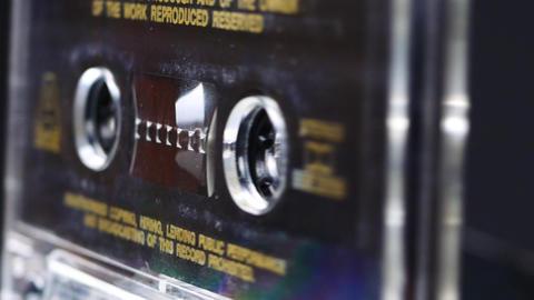 Ternopil, Ukraine - February 19, 2018: Close up of vintage audio tape cassette Footage
