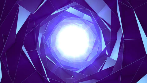 Rough abstract blue tunnel with bright flickering light at its end Animación