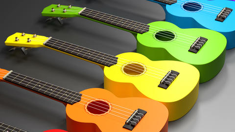 Colorful wooden ukuleles. Rainbow series of traditional hawaiian music Animation