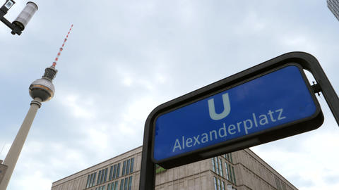 Alexanderplatz U-Bahn station sign and the fernsehturm Footage