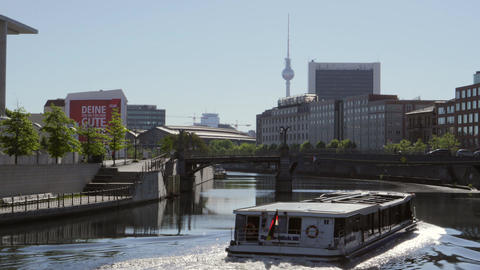 Berlin Cityscape, with a boat on the River Spree Footage