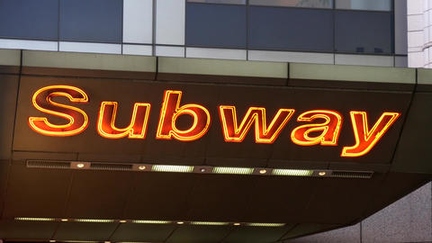 Shot of an illuminated subway sign in Times Square Footage