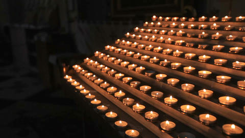 Candles burn near the altar, church ritual Footage