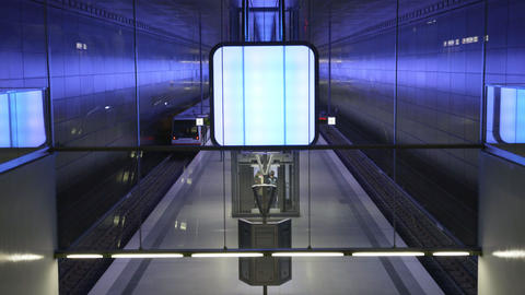 People walking and waiting on the Subway station at Hafencity University on the Footage