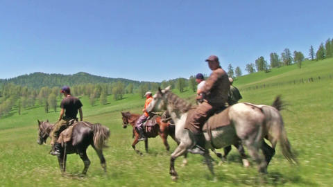 Five Men Ride Horses Footage