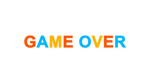 common expression GAME OVER from letters of different colors appears behind Animation