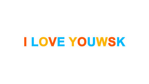 common expression I LOVE YOU! from letters of different colors appears behind Animation