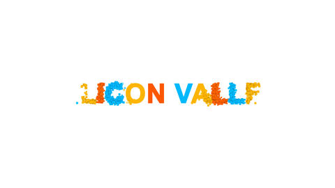 common expression SILICON VALLEY from letters of different colors appears behind Animation