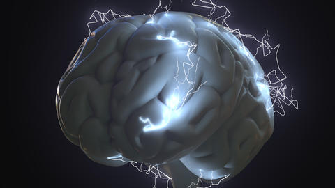 Lightning bolts over human brain. Idea generation, trouble or brainstorm related Footage