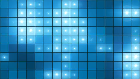 Mosaic Light Show Blue - 4k Illuminated Pixel Grid Video... Stock Video Footage