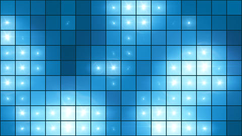 Mosaic Light Show Blue - 4k Illuminated Pixel Grid Video Background Loop Animation