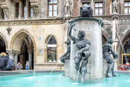 Munich / Germany - February 15 2018 : The water is flowing from the famous fish Photo