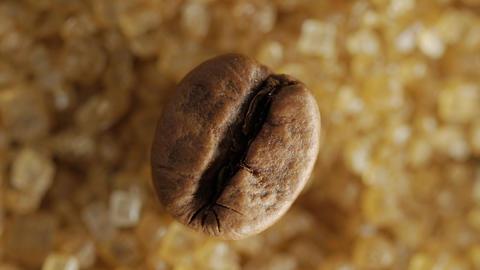 Brown coffee bean on sweet brown sugar crystals, macro shot, Live Action
