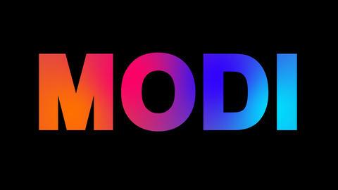 Person of the World Politics MODI multi-colored appear then disappear under the Animation