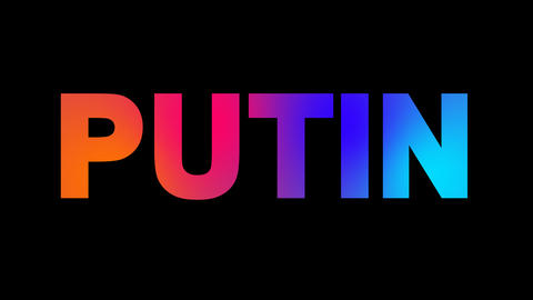 Person of the World Politics PUTIN multi-colored appear then disappear under the Animation