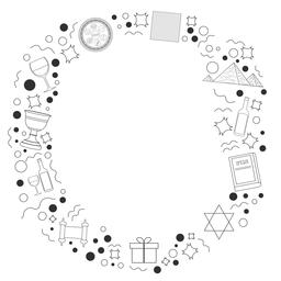 Frame with Passover holiday flat design black thin line icons ベクター