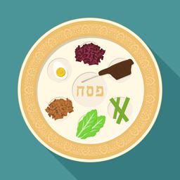 Passover holiday seder plate flat long shadow design icon ベクター