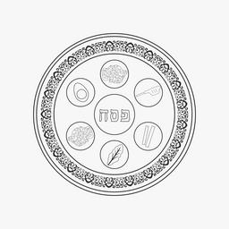Passover holiday seder plate flat black outline design icon ベクター