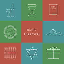 Passover holiday flat design white thin line icons set with text ベクター
