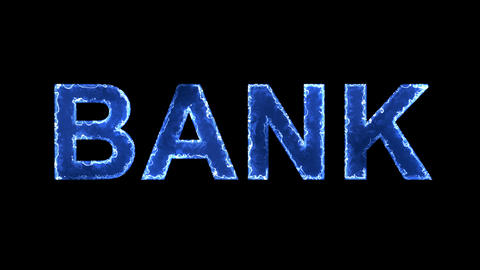 Blue lights form luminous text BANK. Appear, then disappear. Electric style Animation