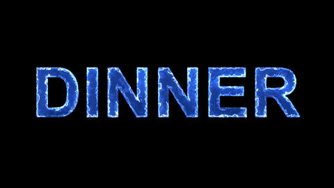 Blue lights form luminous text DINNER. Appear, then disappear. Electric style Animation
