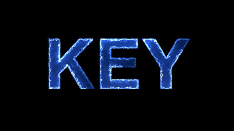 Blue lights form luminous text KEY. Appear, then disappear. Electric style Animation