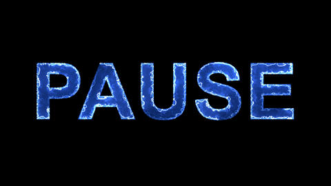 Blue lights form luminous text PAUSE. Appear, then disappear. Electric style Animation